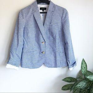 Talbots gingham check blazer blue size 8